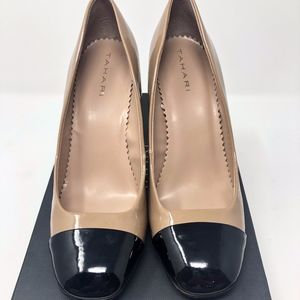 Size 7 Tahari Black and Tan Patent Leather Heels
